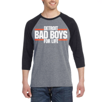 Motor City Bad Boys Deep Heather Gray Detroit Bad Boys For Life 3/4 Sleeve T-Shirt